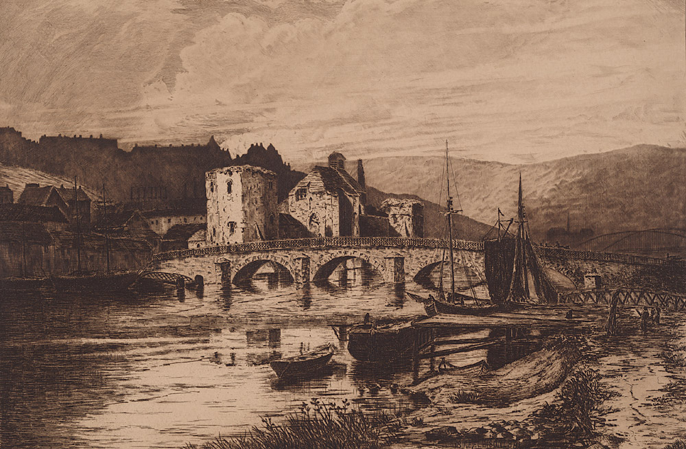 [The Ancient Castle of Newport, Mon., with the Usk Bridge.]