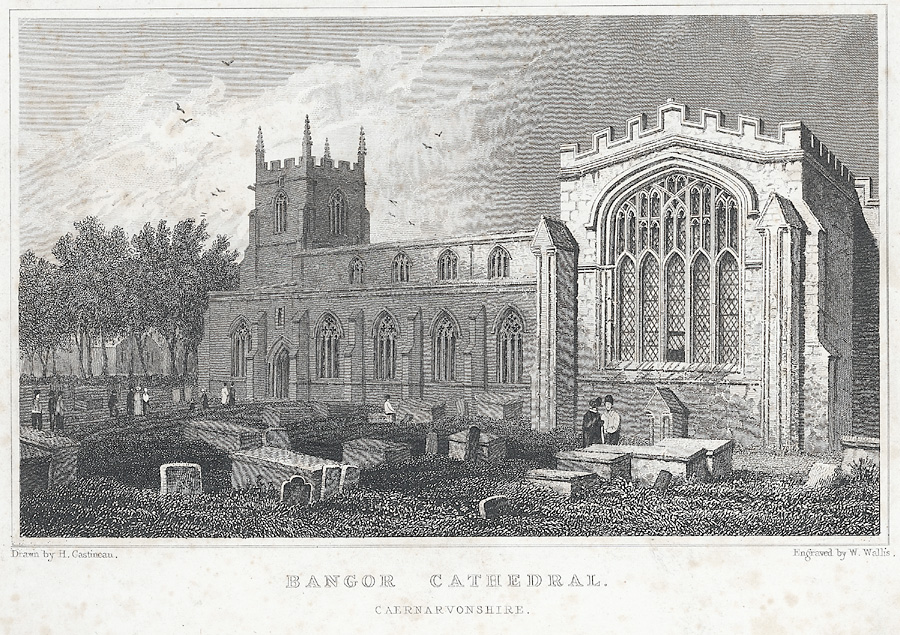 Bangor Cathedral. Caern.. (Two prints on same sheet, see Notes.)