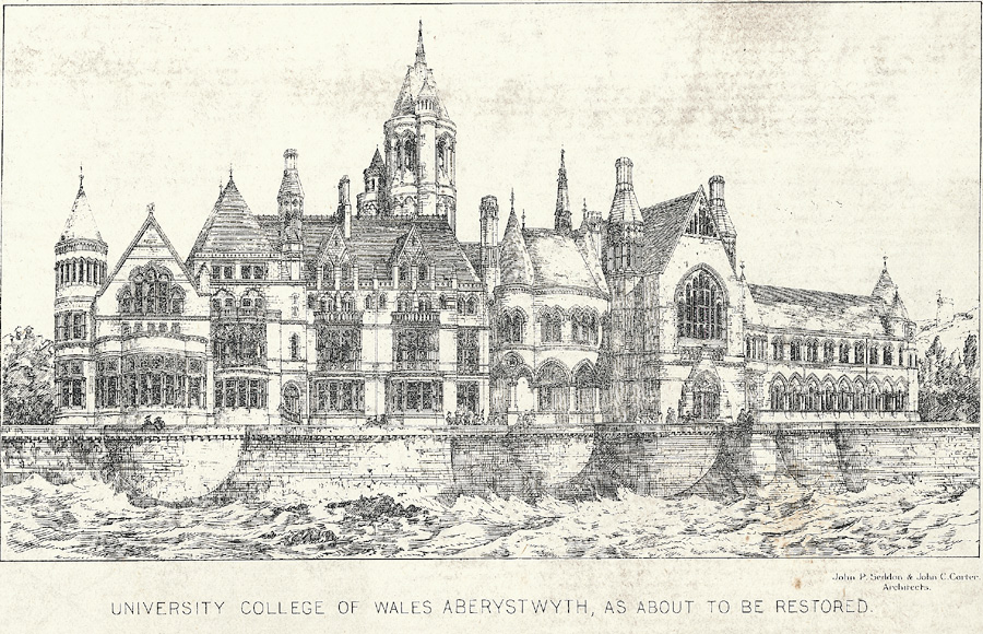 University college of Wales, Aberystwyth, as about to be restored