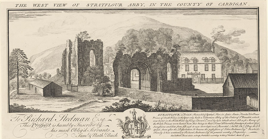 The west view of Stratflour Abby, in the County of Cardigan