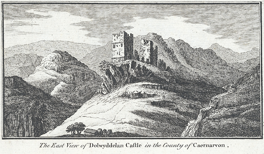 The east view of Dolwyddelan Castle in the county of Caernarvon