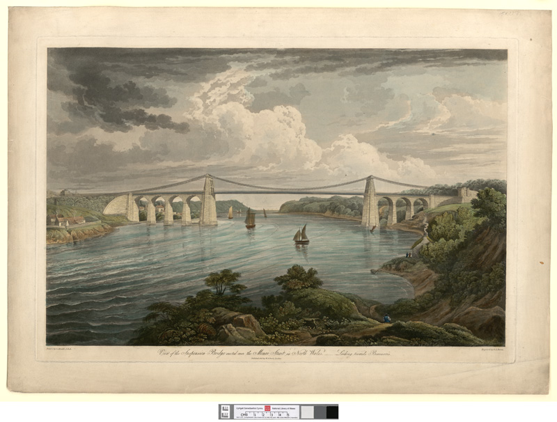 View of the suspension bridge erected over the Menai Strait in north Wales-looking towards Beaumaris