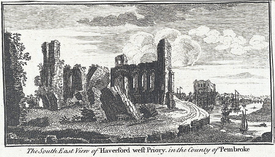 The south east view of Haverford west Priory, in the county of Pembroke