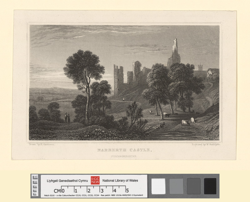 The south view of Narbeth castle, in the county of Pembroke April 5th 1740