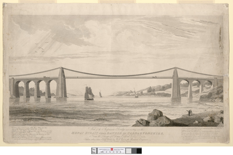 View of the suspension bridge now erecting over the Menai Strait near Bangor in Caernarvonshire