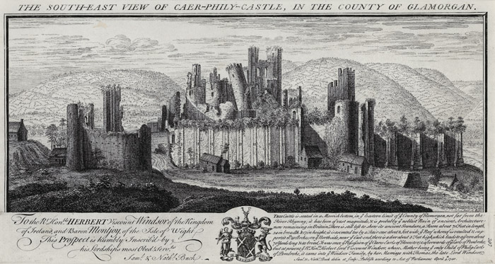The south-east view of Caer-phily-castle, in the county of Glamorgan