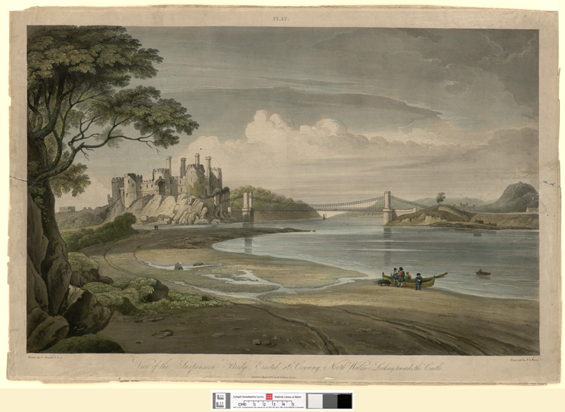 View of the suspension bridge, erected at Conway, north Wales looking towards the castle