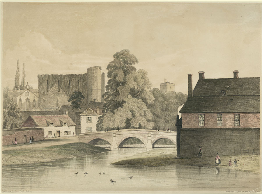 [Brecon Castle & Priory Church, from Usk Bridge]