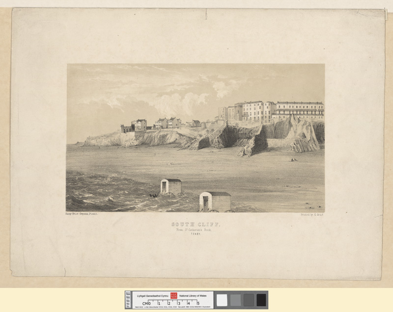 South cliff, from St. Catherine's rock, Tenby