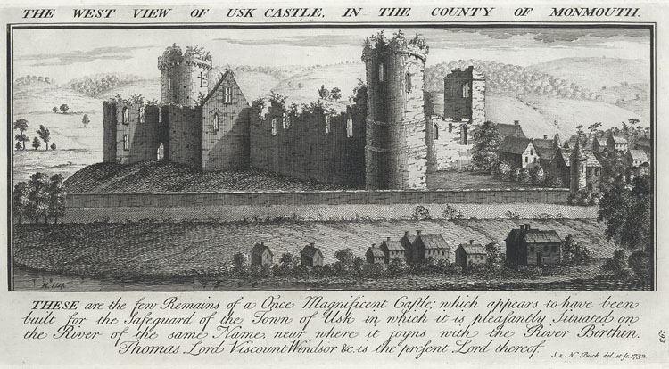The West View Of Usk Castle, In The County Of Monmouth