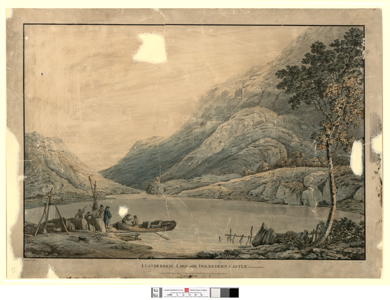 Llanberreis lake with Dolbedern Castle, Carnarvonshire