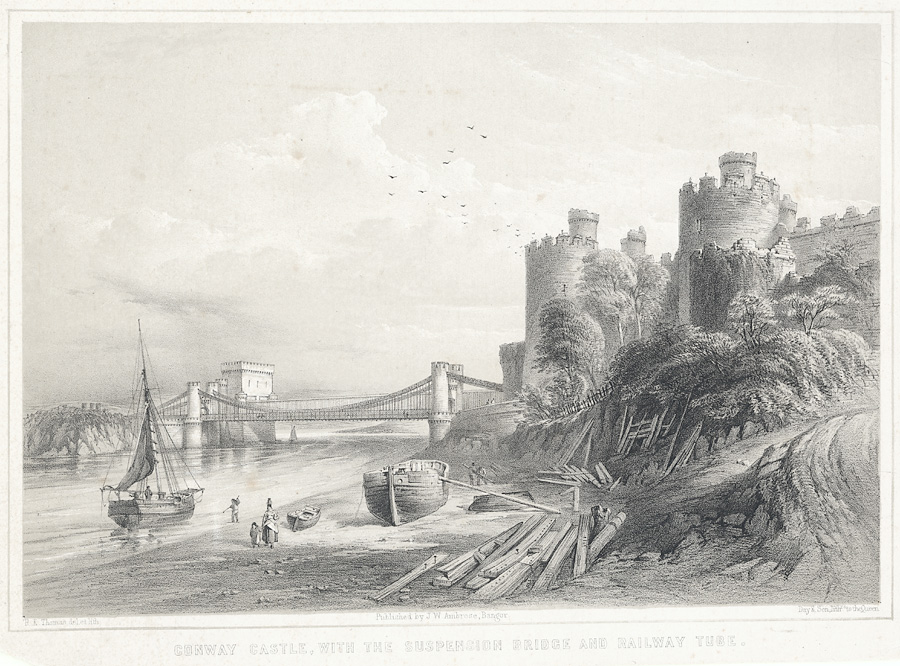 Conway Castle, With The Suspension Bridge And Railway Tube
