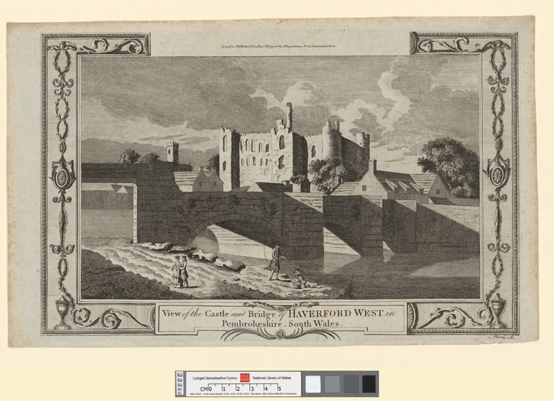 View of the castle and bridge of Haverford West in Pembrokeshire, south Wales