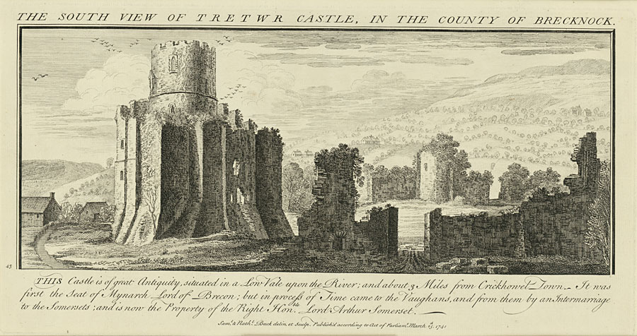 The South View Of Tretwr Castle, In The County Of Brecknock