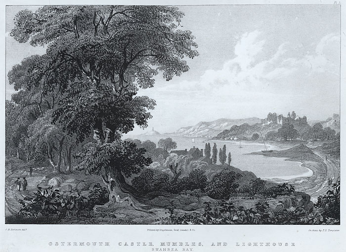 Ostermouth castle, Mumbles, and lighthouse, Swansea bay