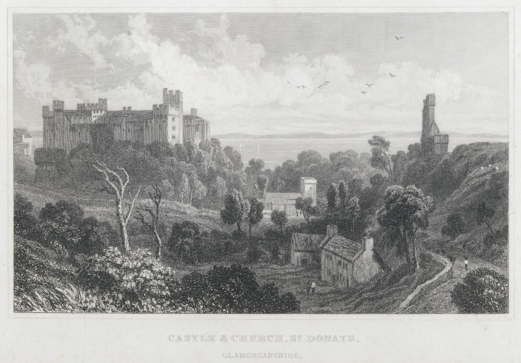 Castle & church, St. Donats, Glamorganshire