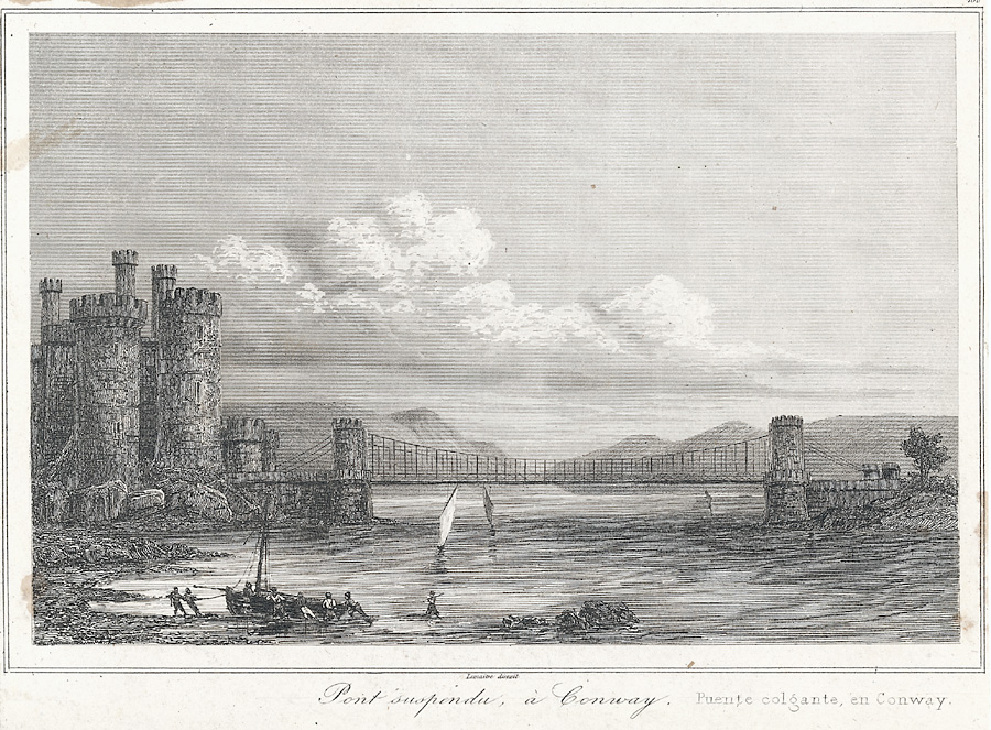 Pont suspendu, a Conway. Puente colgante, en Conway