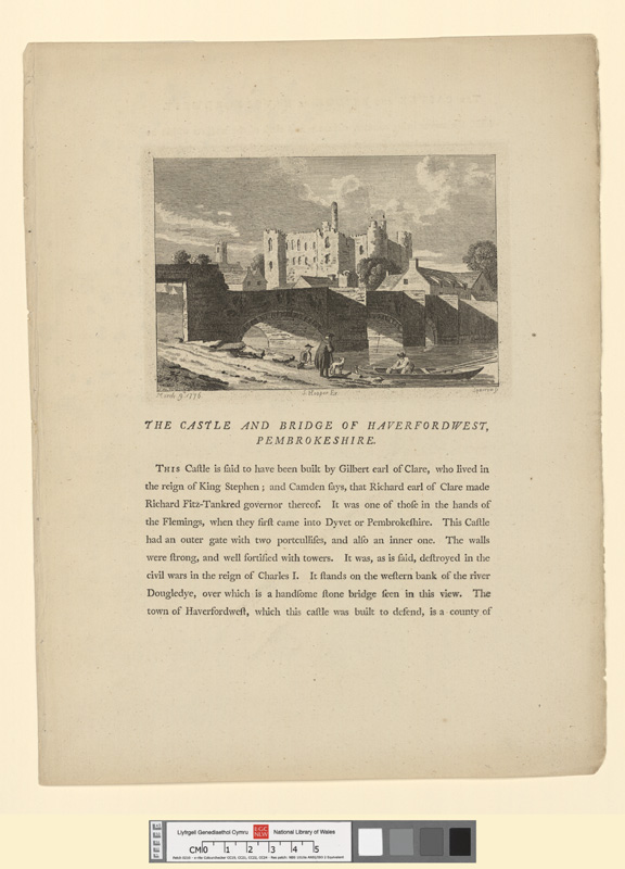 The castle and bridge of Haverfordwest, Pembrokeshire March 9th 1776