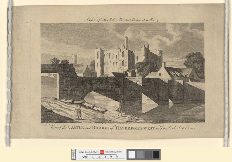 View of the castle and bridge of Haverford-West in Pembrokeshire