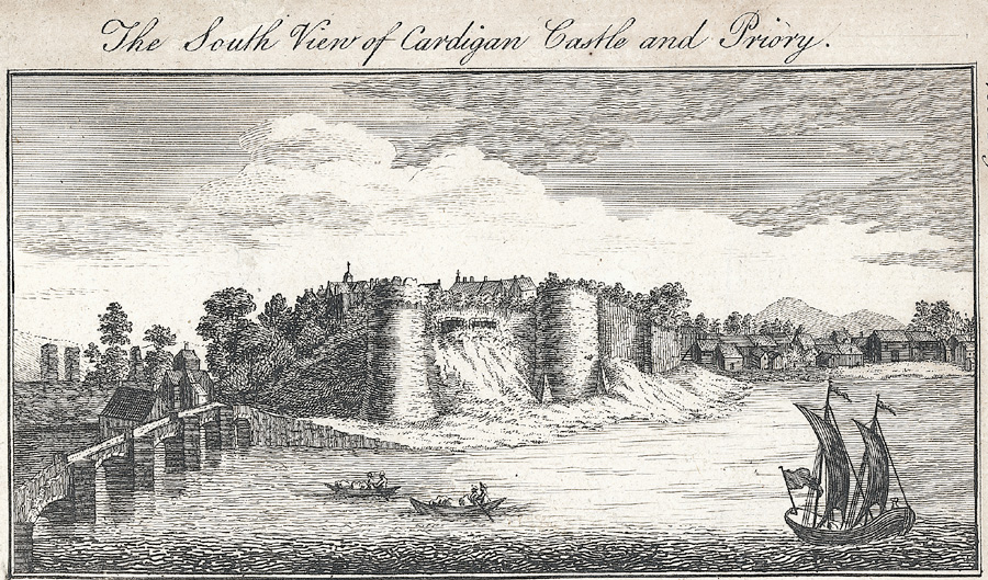 The south view of Cardigan Castle and Priory