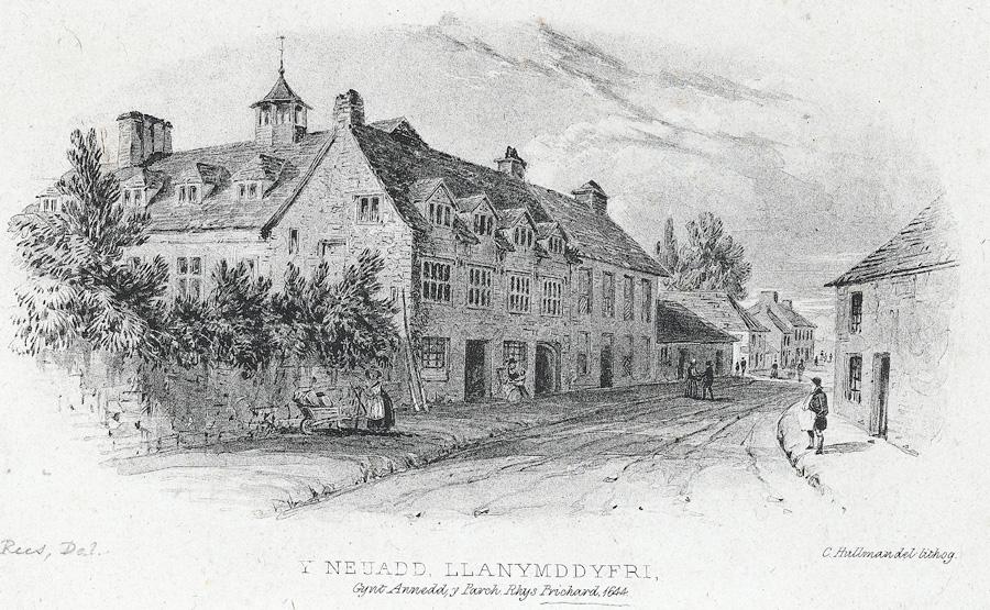 Y Neuadd, Llanymddyfri, Gynt Annedd y Parch. Rhys Prichard, 1644