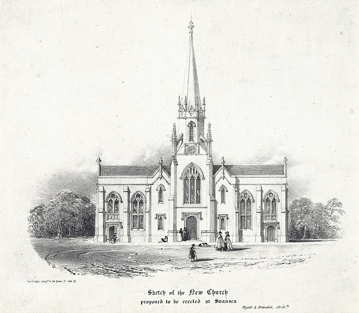 Sketch of the New Church proposed to be erected at Swansea