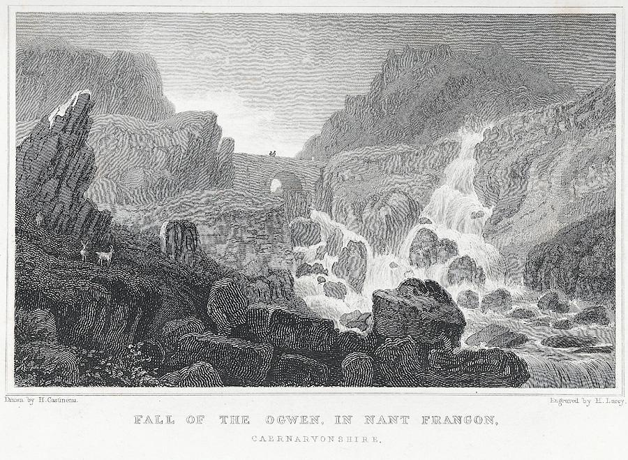 Fall of the Ogwen, in Nant Frangon, Caernarvonshire