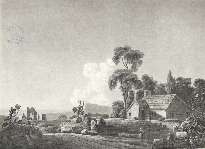 Distant view of Neith abbey, Glamorganshire