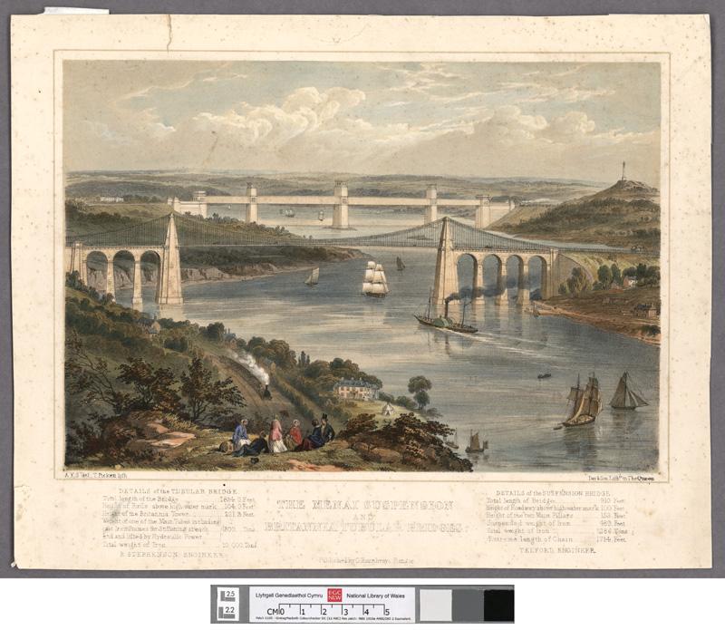 The Menai suspension and Britannia tubular bridges
