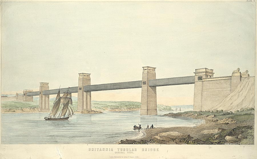 Britannia Tubular Bridge.General view