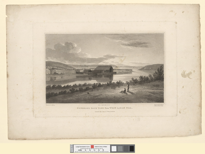 Pembroke dock yard from West Lanion Pill May 1 1820