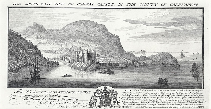 The south east view of Conway Castle, in the county of Caernarvon