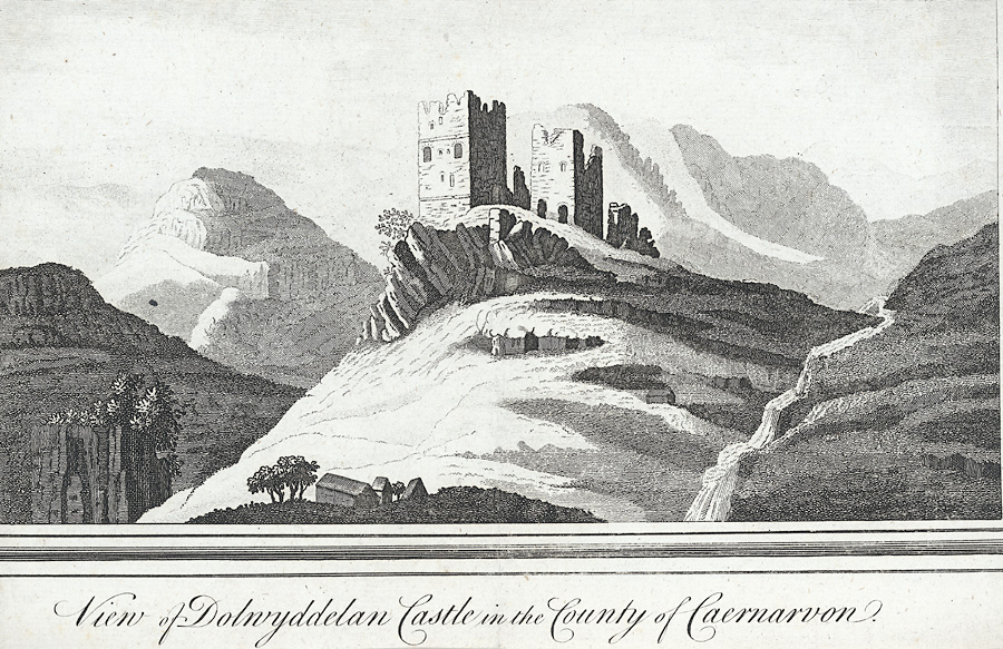 View of Dolwyddelan Castle in the County of Caernarvon