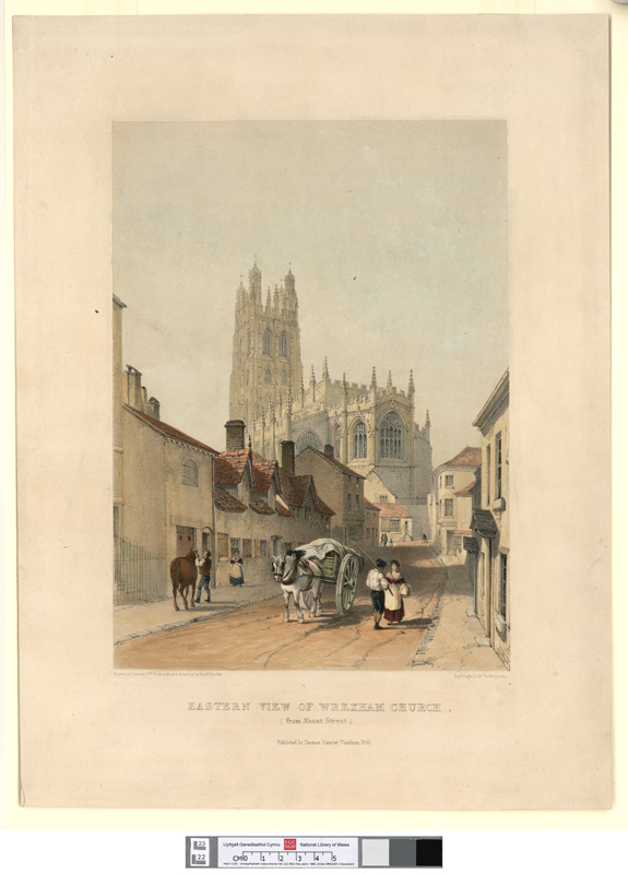 Eastern view of Wrexham church, from Mount street 1843
