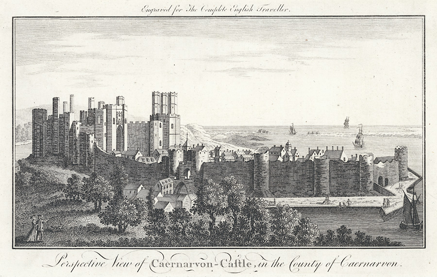 Perspective view of Caernarvon Castle, in the county of Caernarvon