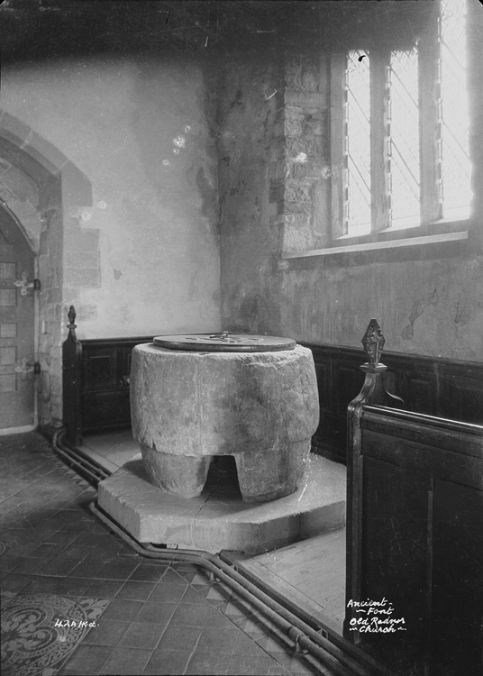 Ancient font Old Radnor church