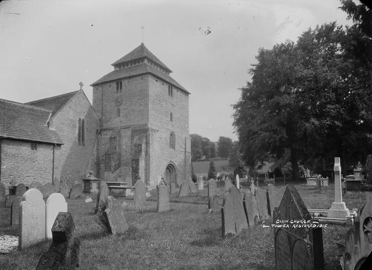 Clun church - tower restored 1915