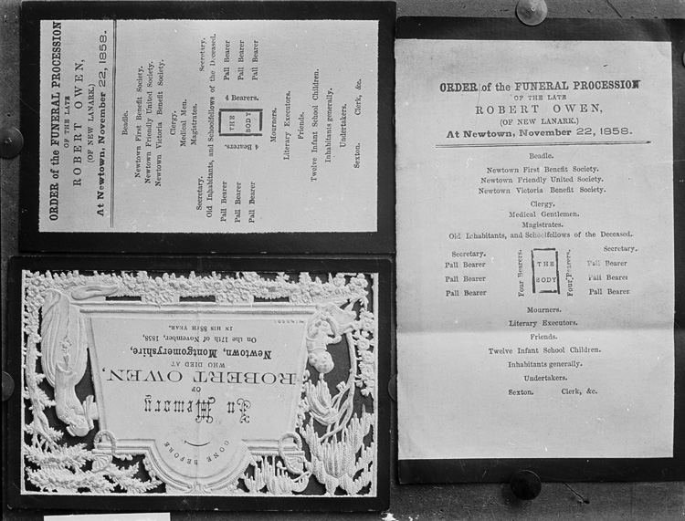 [Robert Owen memorial card and order of funeral pamphlets]