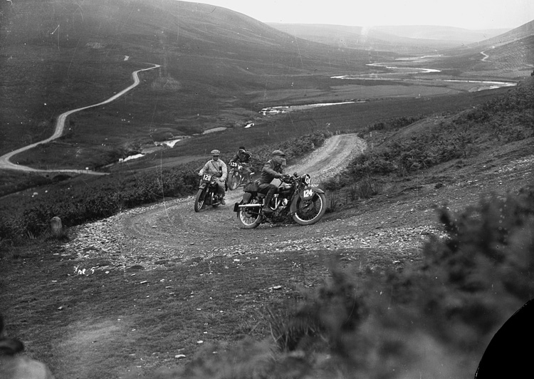 [Motorcycle racing in Rhayader on the old road to Aberystwyth]