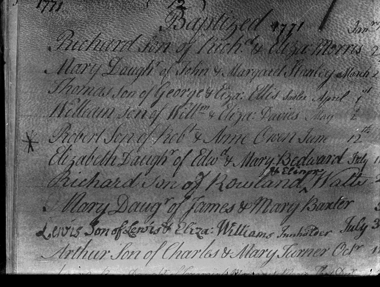 [Newtown Parish Register for births with an entry for Robert Owen, born June 12th 1771]