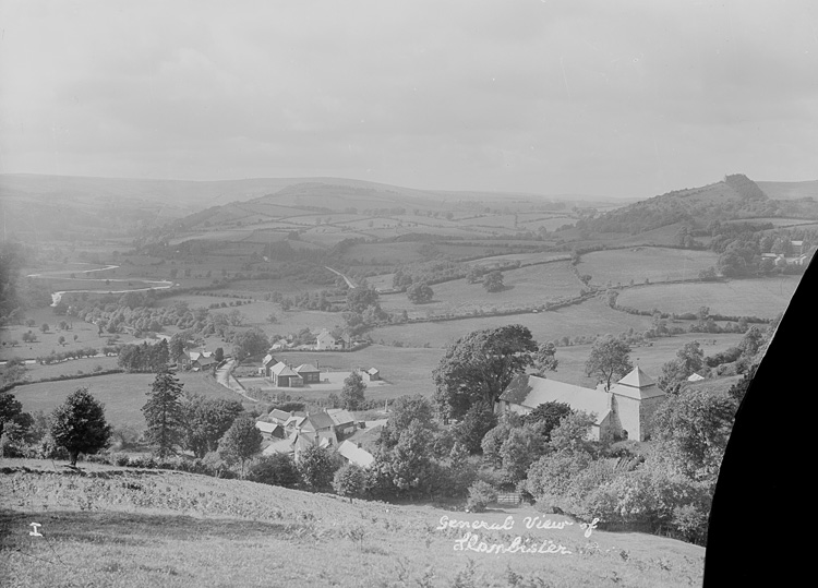 [View of Llanbister and surrounding countryside]