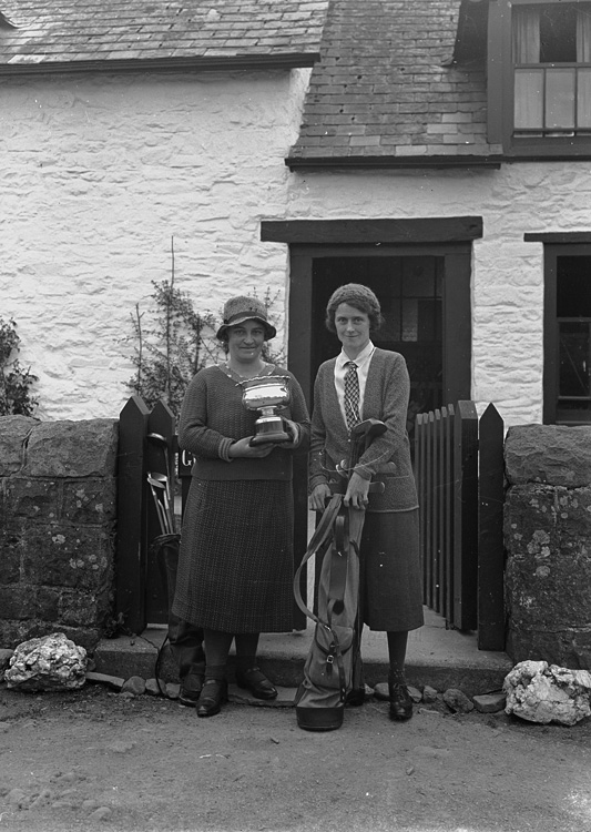 [Two lady golfers, one with a trophy, Builth Wells]