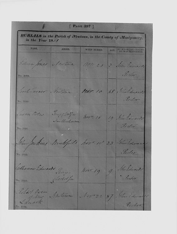 [Newtown Parish Register for burials in the Parish of Newtown for the year 1858, with an entry for the burial of Robert Owen of New Lanark, buried November 22nd]
