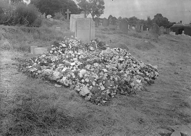 [Grave with funeral flowers]
