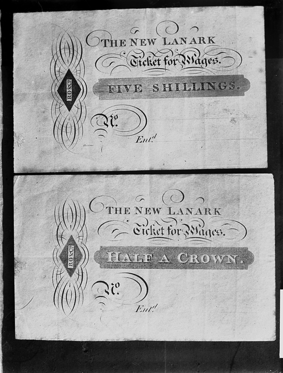 [Truck system of payment, the New Lanark ticket for wages, RO & Co.]