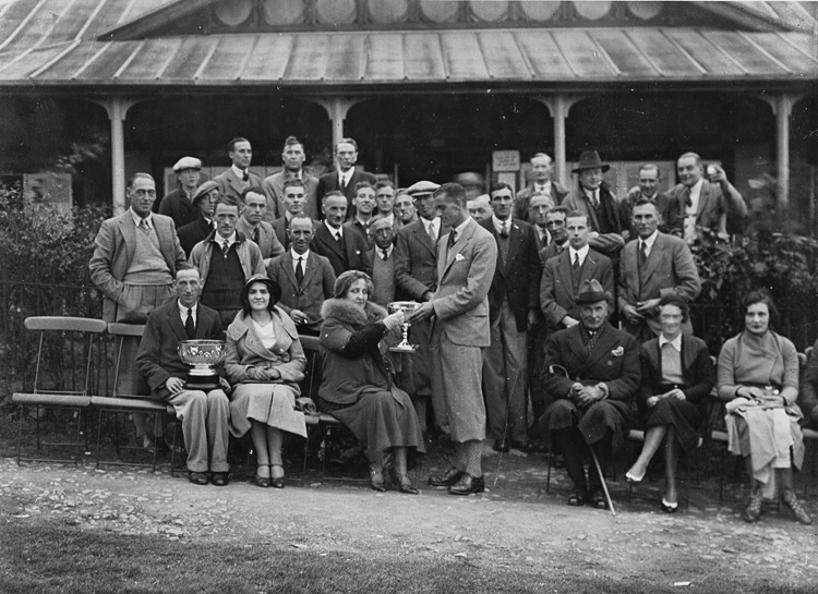 [Presentation outside Llandrindod Wells Golf Club pavilion]