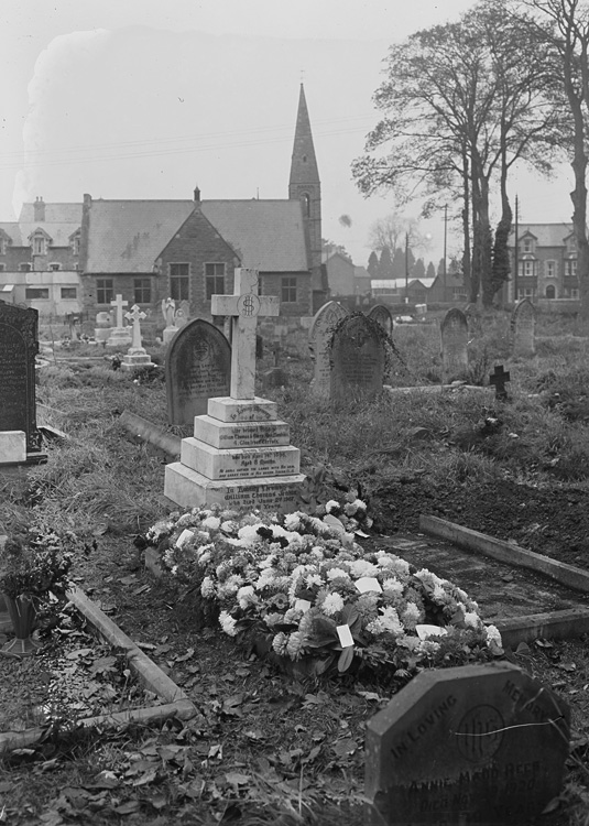 [The graveyard at St Mary's church, Builth Wells]