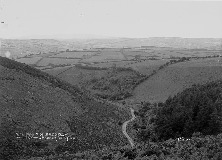 """View from """"Fiddlers Elbow"""" showing Radnor Forest"""