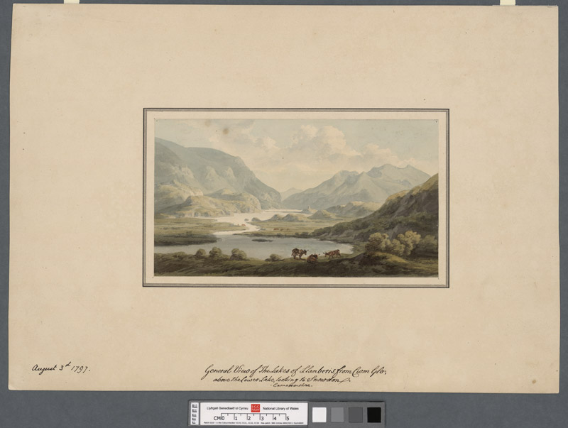 General view of the lakes of Llanberis from Cwm Glo above the lower lake looking to Snowdon. Caernarvonshire