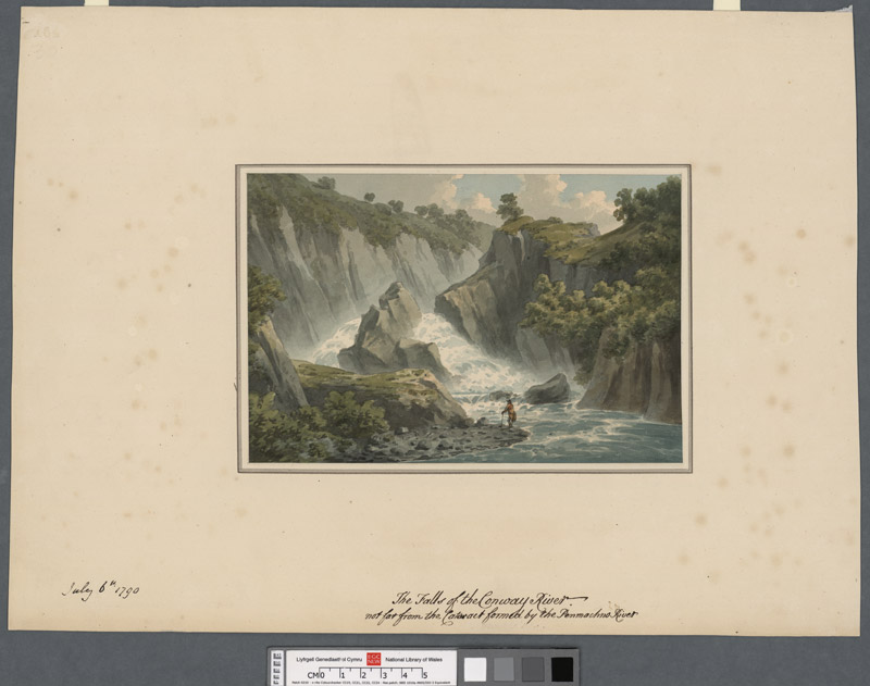 The fall of the Conway River, not far from the cataract formed by the Penmachno River